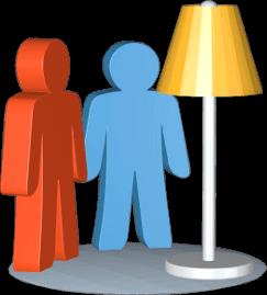 3D Grafik Icon Stehlampe zwei Personen