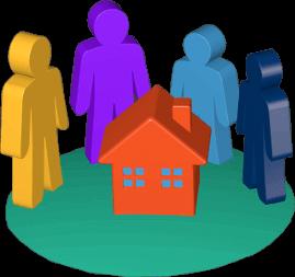 Grafik Icon 3D Grundstück Haus Immobilie Eltern Kinder