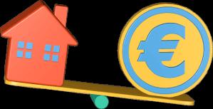 Icon 3D Grafik Wippe Haus Geld