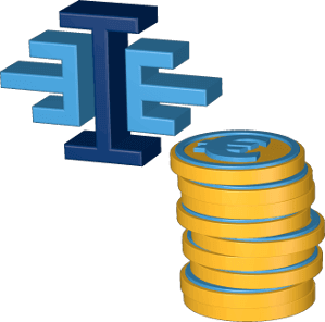 Grafik Icon 3D Logo Immoeinfach.de Münzen Euro