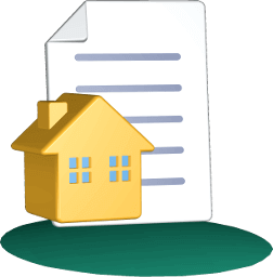 3D Grafik Icon Immobilie Haus Grundstück Dokument Vertrag