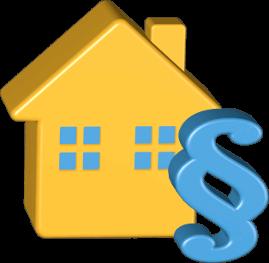 Grafik 3D Icon Haus Immobilie Recht Paragrafenzeichen