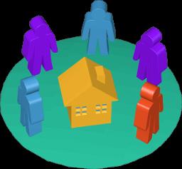 Grafik 3D Icon Immobilie Besichtigung