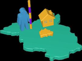 3D Icon Grafik Karte Berlin Brandenburg Vermessung Immobilie Grundstück