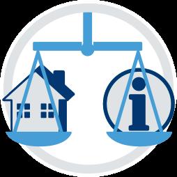 Grafik Icon Immobilie Haus Waage Recht Info