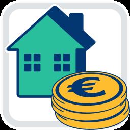 Grafik Icon Haus Immobilie Geld Münzen Tilgungsdarlehen