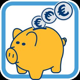 Grafik Icon Sparschwein Münzen Geld Treuhandkonto