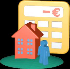 Grafik 3D Icon Haus Immobilie Taschenrechner