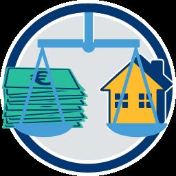 Grafik Icon Immobilie Waage Geld umkehrhypothek