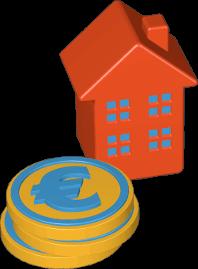 Icon 3D Grafik Haus Geld Kosten