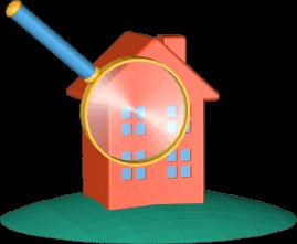 3D Grafik Icon Haus Immobilie Grundstück unter der Lupe
