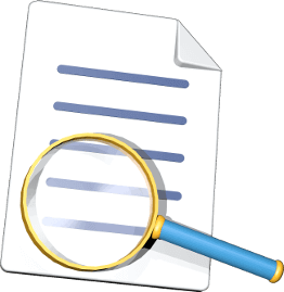 Icon 3D Grafik Dokument unter der Lupe Vertrag