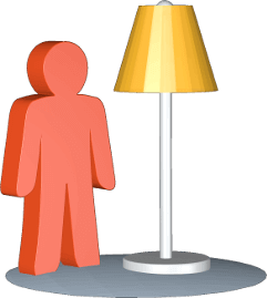 3D Grafik Icon Stehlampe Person