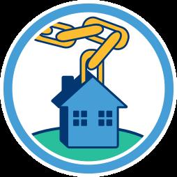 Grafik Icon Haus Grundstück Immobilie an Kette