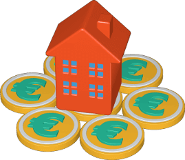 3D Icon Haus Geld Immobilie