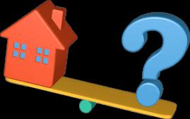 3D Grafik Wippe Haus Immobilie Fragezeichen