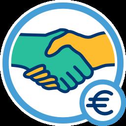 Grafik Icon Hand schütteln Eurozeichen Honorar