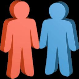 Grafik 3D Icon zwei Personen ehe