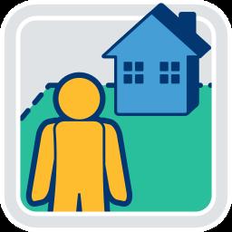 2D Icon Grafik Haus Grundstück Immobilie Person eigentuemer