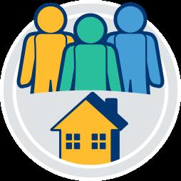 Grafik Icon Immobilie Haus 3 Personen eigentuemergemeinschaft