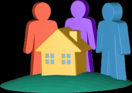 3D Grafik Icon Immobilie Haus Personen
