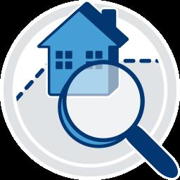 Grafik 2D Icon Immobilie unter der Lupe
