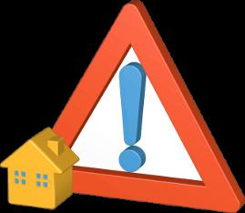 3D Grafik Icon Haus Warnzeichen