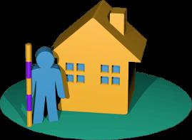 3D Grafik Icon Haus Immobilie Grundstück Vermessung Person