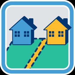 zwei Immobilien, Häuser Grundstücksgrenze