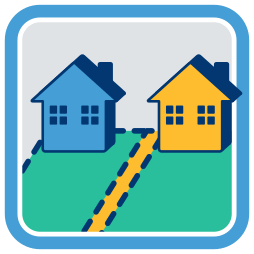 zwei Grundstücke Häuser Grenze