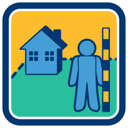 Haus Grundstück Person Grenzvermessung