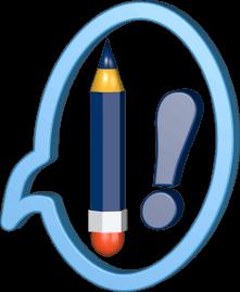 Bleistift mit Radiergummi Sprechblase Ausrufezeichen
