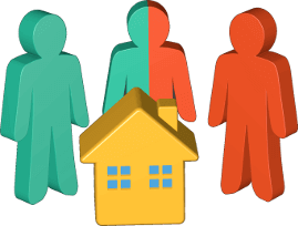 Grafik 3D Icon Haus Immobilie Personen doppeltaetigkeit