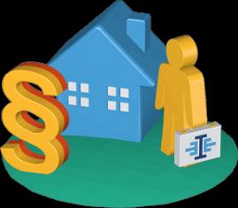 Haus Paragrafenzeichen Immobilienmakler Koffer