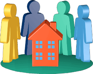 2D Grafik Icon Haus Bewohner