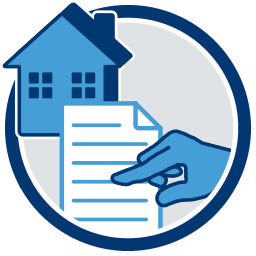 Haus Immobilie Dokument Zeigefinger