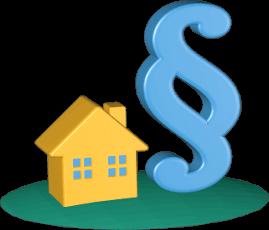 3D Grafik Icon Haus Immobilie Paragrafenzeichen