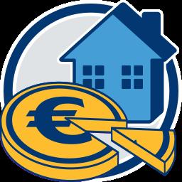 Grafik Icon Haus Geld-Anteil