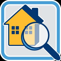 Grafik Icon Haus Immobilie Lupe Sachwertverfahren