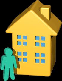 Icon 3D Grafik Haus Immobilie Person