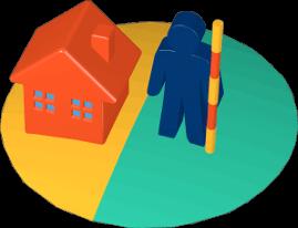 Haus zwei Grundstücke Person Grenzvermessung