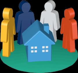 Grafik 3D Icon Immobilie Haus Eigentümerversammlung