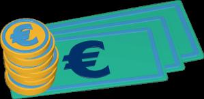 Icon 3D Grafik Geld Euro Münzen Scheine