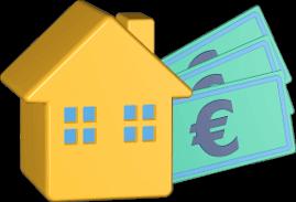 3D Icon Grafik Haus Immobilie Geldscheine