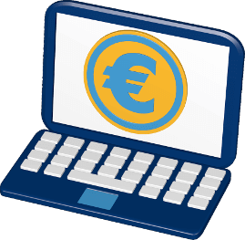 Grafik Icon 3D Laptop Geld Eurosymbol
