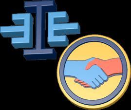 3D Icon Grafik Logo immoeinfach Hände schütteln