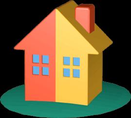 Grafik 3D Icon Haus halb-halb