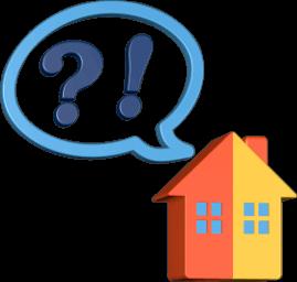 Grafik 3D Icon Haus Sprechblase Fragezeichen Ausrufezeichen