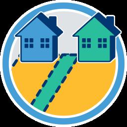 zwei Grundstücke Häuser Weg Notwegerecht