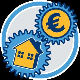 Immobilie Haus Geld Zahnräder